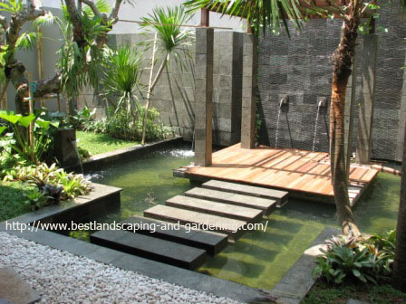 Koi pond with gazebo, location: backyard of The Green, BSD (after construction, day time)