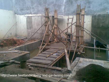 Koi pond with gazebo, location: backyard of The Green, BSD (under construction)